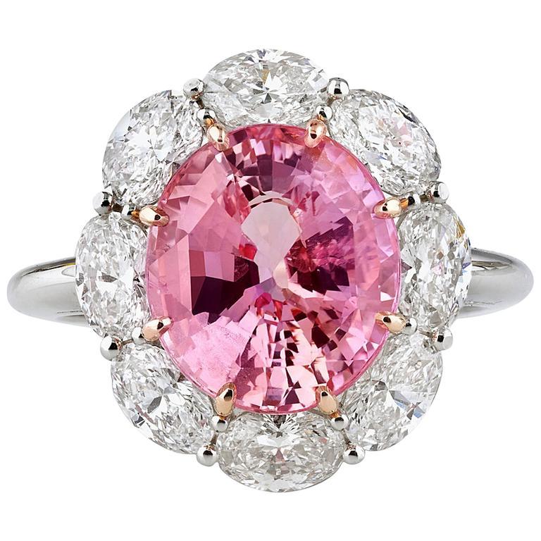 5 61 Carats Untreated Padparadscha Sapphire Diamond Gold