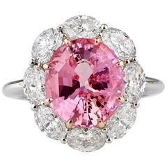 5.61 Carats Untreated Padparadscha Sapphire Diamond Gold Ring