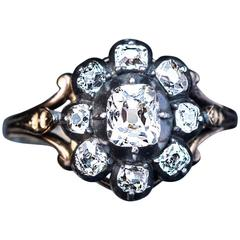Antique Georgian Diamond Silver Gold Ring