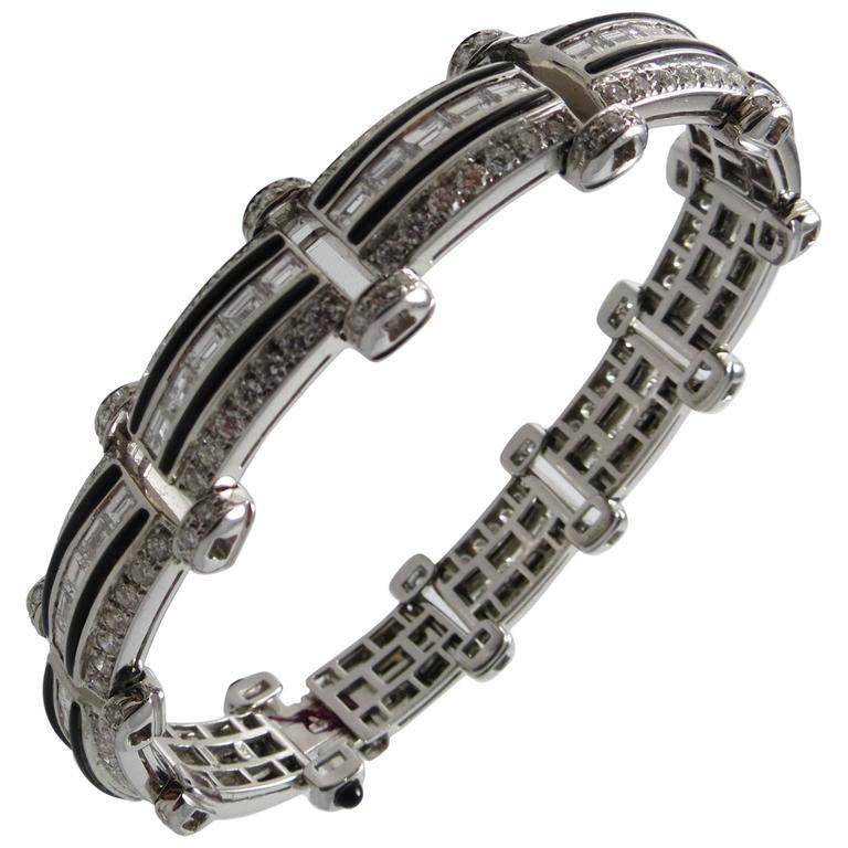 Picchiotti Black Onyx Diamond Gold Flexible Bracelet