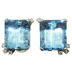 Emerald Cut Aquamarine Gold Platinum Earrings