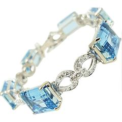 Aquamarine Diamond Gold Link Bracelet