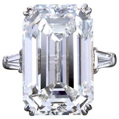 14 Carat GIA Cert Emerald Cut Diamond Platinum Engagement Ring