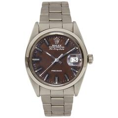 Rolex Stainless Steel Air King Date Tropical Dial Wristwatch