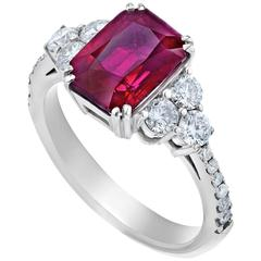 3.99 Carat Burma Ruby Diamond Gold Ring