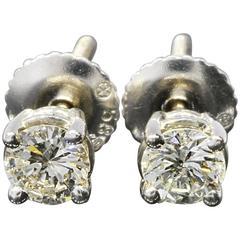 .50 Carats Diamonds Gold Classic Screw Back Stud Earrings