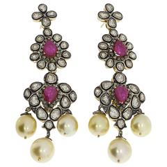 Pearl Ruby Diamond Silver Gold Chandelier Earrings