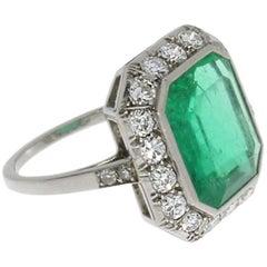 Art Deco Central 4.76 Carat Emerald Diamond Platinum Ring