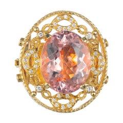 Doris Panos 23.06 Carat Morganite Diamond Gold Pendant