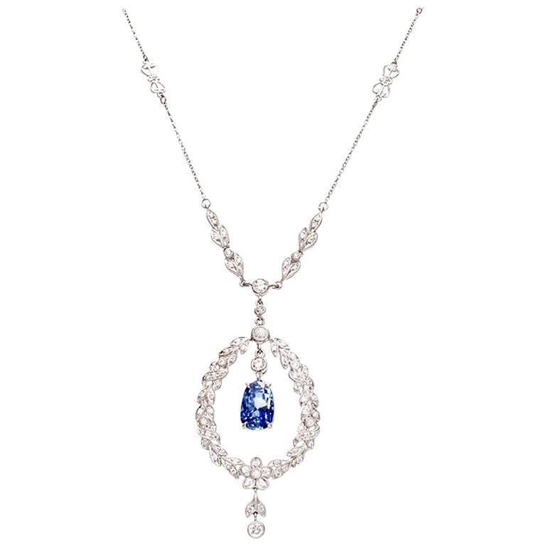Antique Edwardian Natural Blue Sapphire Diamond Platinum Pendant Necklace