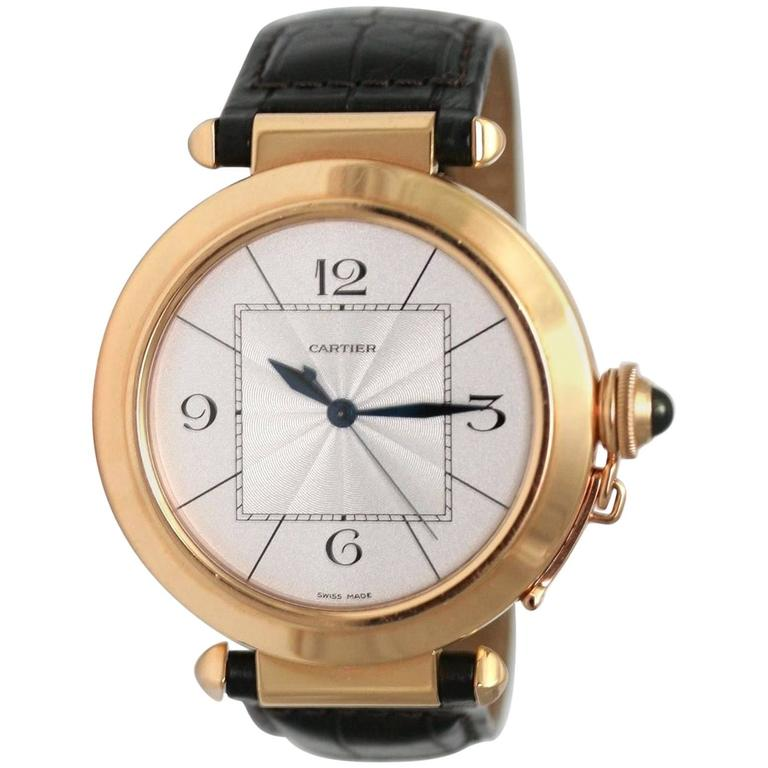 Cartier Rose Gold Pasha Automatic Wristwatch For Sale