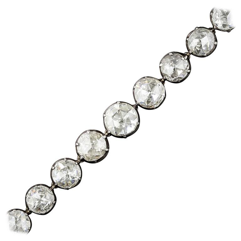Spectacular 22.50 Carats Rose-Cut Diamonds Bracelet For Sale