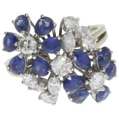 Sapphire Diamond Gold Flowers Ring
