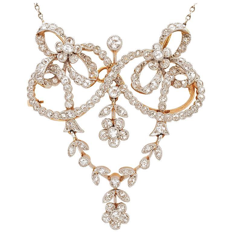 Edwardian Diamond Pendant Brooch