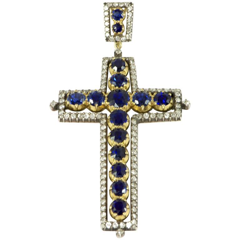 Sapphire Diamond Gold Cross Pendant