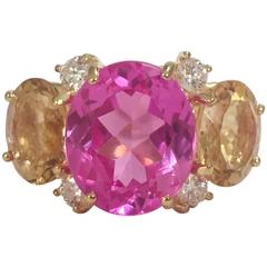 Large GUM DROP™ Ring with Pink Topaz and Citrine and Diamonds