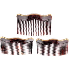 Trio of Edwardian Natural Pearl Tortoiseshell Gold Combs
