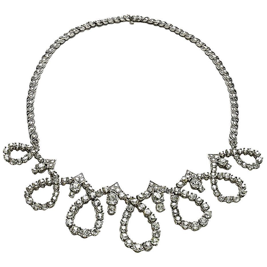 Sterlé Diamond Palladium Necklace For Sale at 1stdibs
