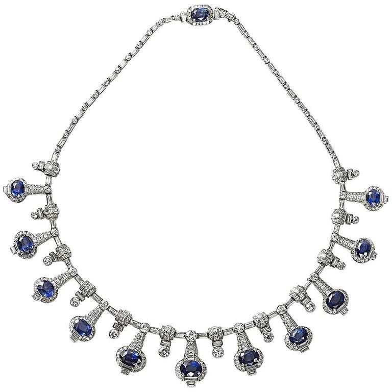 Fine Sapphire Diamond Platinum Necklace