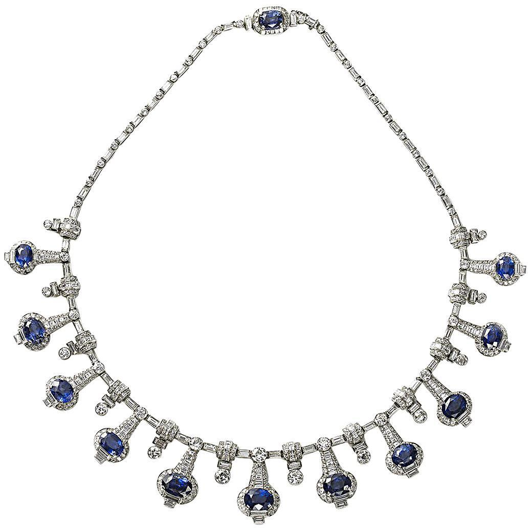 Fine sapphire diamond platinum necklace for sale at 1stdibs for Z s fine jewelry
