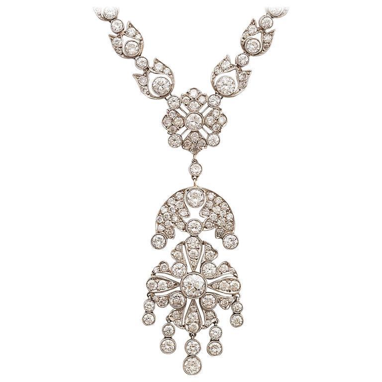 1950s Diamond Gold Pendant Necklace