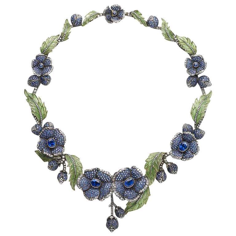 Enamel Sapphire Diamond Gold Flower Necklace