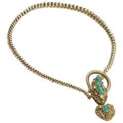 Victorian Emerald Ruby Diamond Gold Snake Necklace