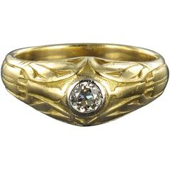 Antique Engraved Men's Diamond Gold Signet Ring