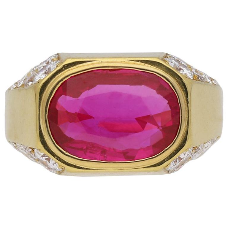 Natural Unenhanced Burmese Ruby Diamond Ring by Bulgari, circa 1970s