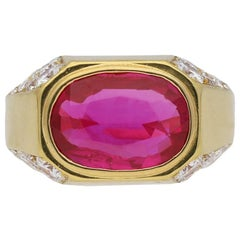 Natural Unenhanced Burmese Ruby Diamond Ring by Bulgari, circa 1970s