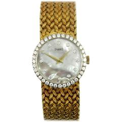 Piaget Ladies Yellow Gold Mother of Pearl Diamond Dial Wristwatch