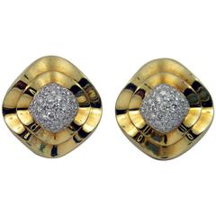 1980s Diamond Pave Gold Ballerina Design Earrings