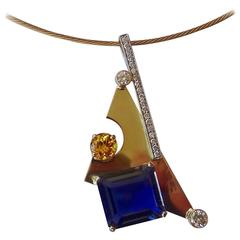 Michael Kneebone Iolite Yellow Sapphire Diamond Gold Pendant
