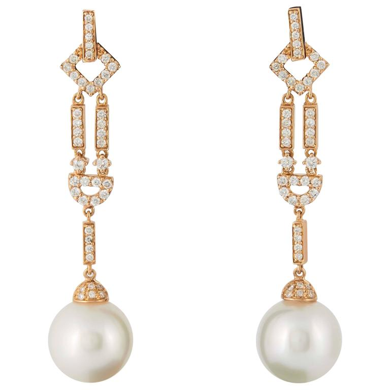 South Sea Pearl Diamond and Rose Gold Dangle Earrings
