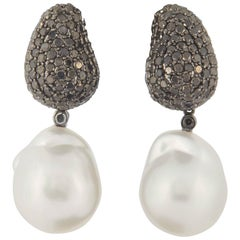 Day & Night South Sea Pearl Black Diamond Drop Earrings 3.10 Carats 18K Gold