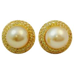 Magnificent Yellow Sapphire Golden Pearls Button Earrings