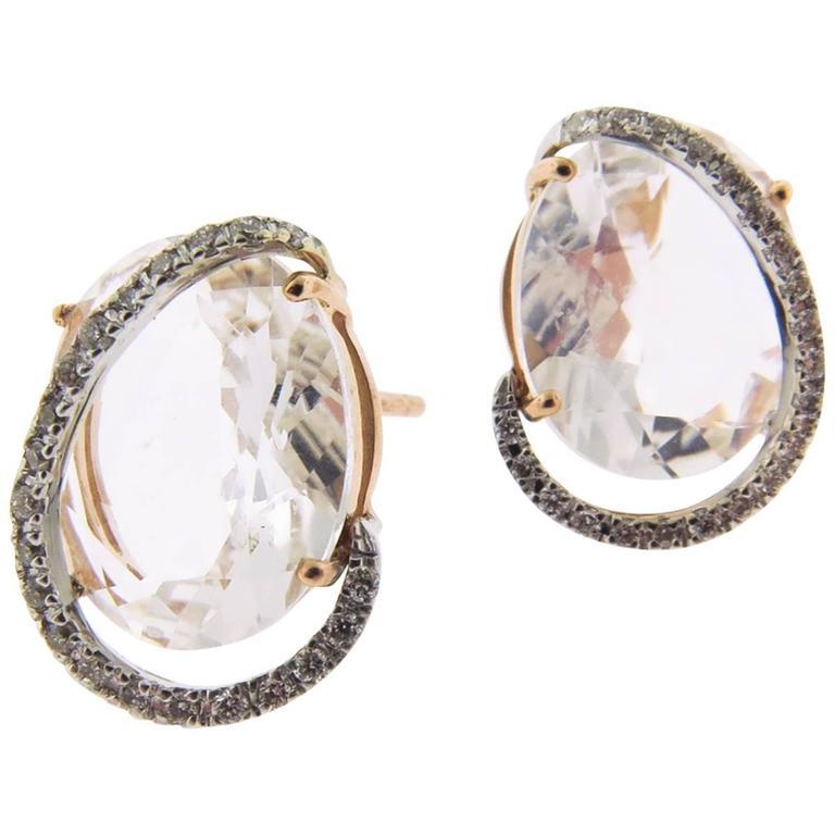 Rose Quartz and Diamond Stud Earrings by Brumani