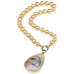 Detachable Dendrite Gold Pendant on a South Sea Pearl Necklace