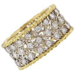 Buccelati Milano Diamond Gold Filigree Band Ring