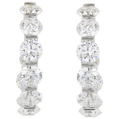 4.14 Carats Diamonds Gold Hoop Earrings