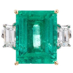 Aletto Brothers 12.43ct Emerald Diamond Three-Stone Ring