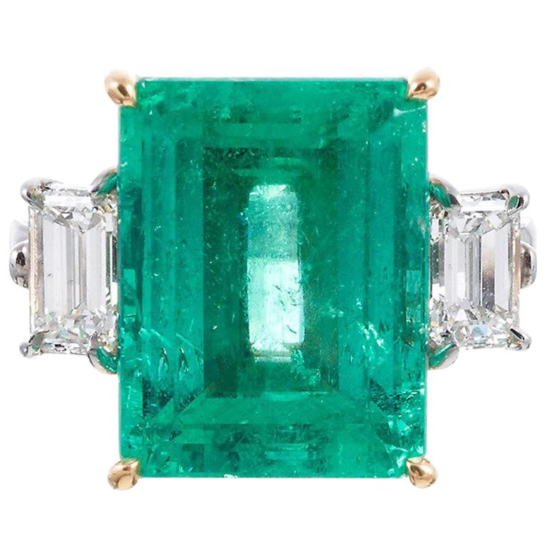 Aletto Brothers Emerald Diamond Three-Stone Ring For Sale
