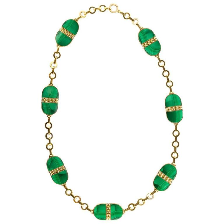 Malachite Gold Chain Necklace