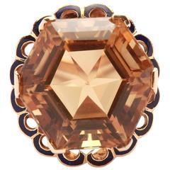Citrine Enamel Gold Ring