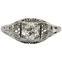 Art Deco 1.05 Carat Old European Diamond Gold Ring