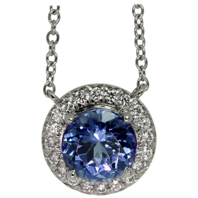 anniversary a necklace complemented the totaling carats pin cascade tanzanites over tiffany tanzanite with by