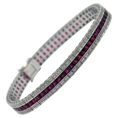 Ruby Diamond Gold Line Bracelet
