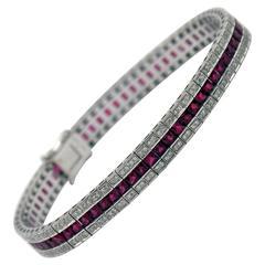 Ruby Diamond Gold Line Bracelet
