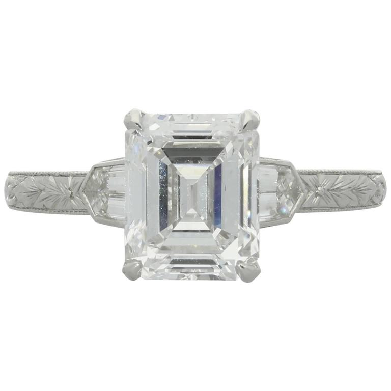 2.02ct D VS2 Emerald Cut Diamond Solitaire Bullet Diamond Shoulder  Ring
