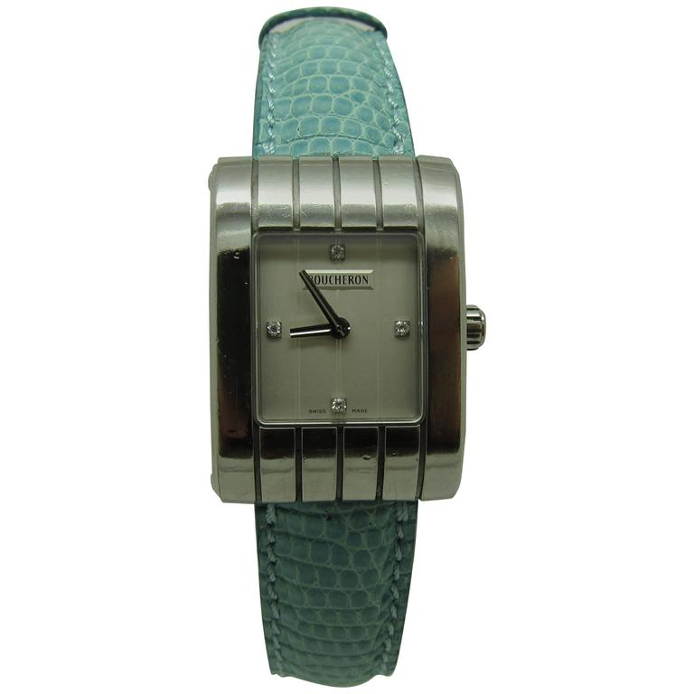 Boucheron Ladies Brushed Stainless Steel Diamond Dial Reflet Wristwatch